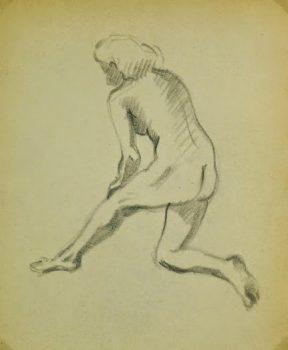 Charcoal Drawing - Female Nude Kneeling, Circa 1930-main-6055G
