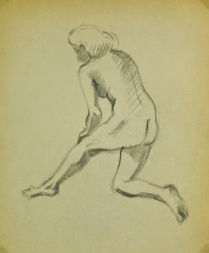 Charcoal Drawing - Female Nude Kneeling, Circa 1930-main-6055G