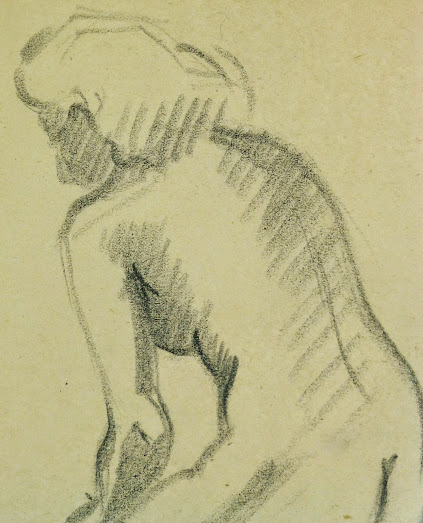 Charcoal Drawing - Female Nude Kneeling, Circa 1930-detail-6055G