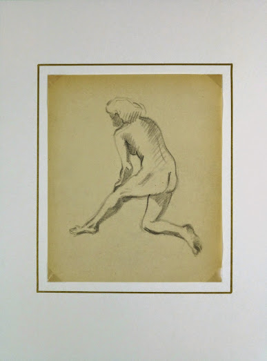 Charcoal Drawing - Female Nude Kneeling, Circa 1930-matted-6055G