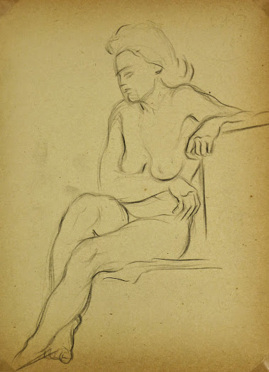 Charcoal Drawing - Female Nude Kneeling, Circa 1930-main-6056G