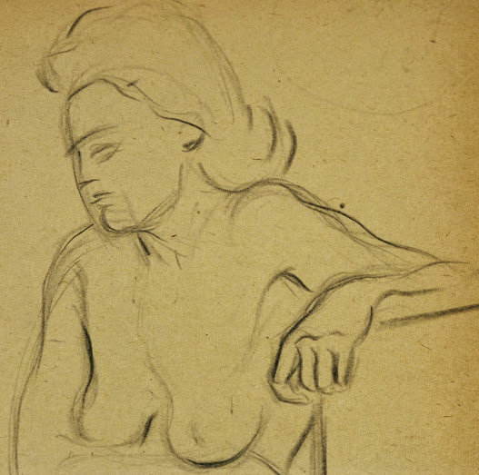 Charcoal Drawing - Female Nude Kneeling, Circa 1930-detail6056G