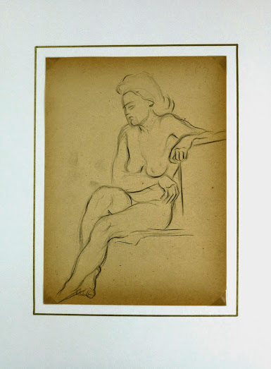 Charcoal Drawing - Female Nude Kneeling, Circa 1930-matted-6056G