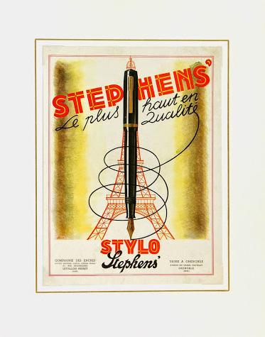 Eiffel Tower Pens Print, Circa 1930-matted-6161K