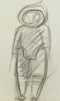Charcoal Sketch - Winter Figure, 1970s-main-6373G