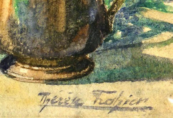 Watercolor Still Life- Copper & Elegance, Circa 1890-detail-6922K
