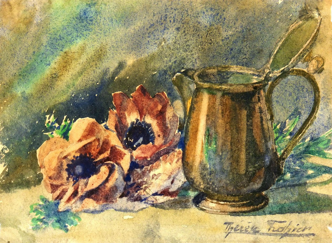 Watercolor Still Life- Copper & Elegance, Circa 1890-main-6922K