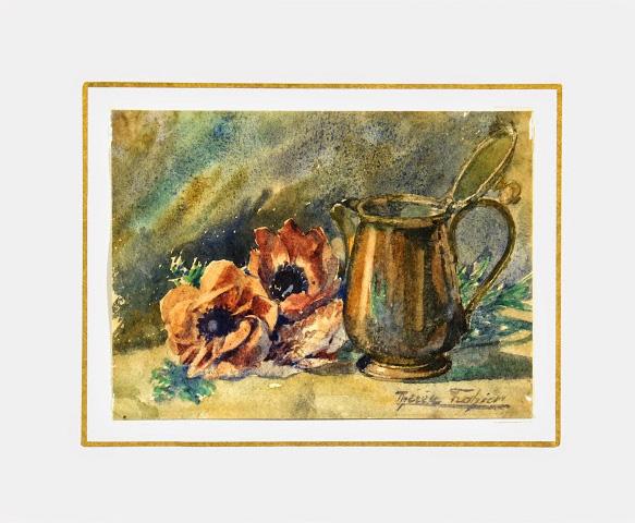 Watercolor Still Life- Copper & Elegance, Circa 1890-matted-6922K
