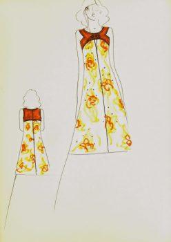 Balmain Fashion Sketch - Floral Dress, Circa 1960-main-7047G