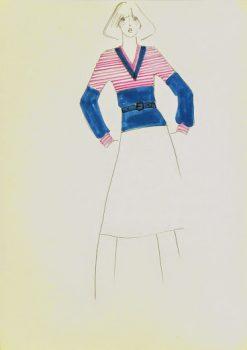 Balmain Fashion Sketch - Pink & Blue Sweater, Circa 1960-main-7051G