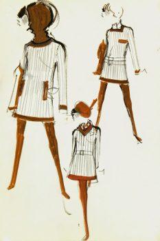 Balmain Fashion Sketch - Mod Stripes, Circa 1960-main-7067G