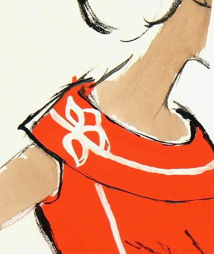 Balmain Fashion Sketch - Sleeveless Sweater, Circa 1960-detail-7068G