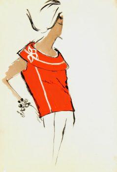 Balmain Fashion Sketch - Sleeveless Sweater, Circa 1960-main-7068G