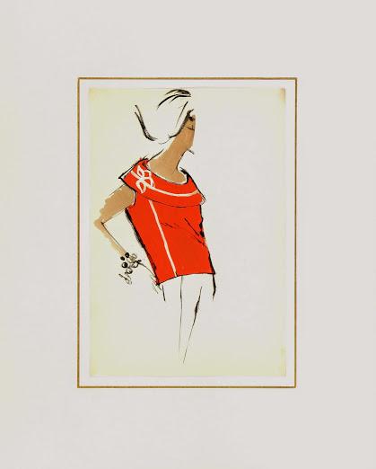 Balmain Fashion Sketch - Sleeveless Sweater, Circa 1960-matted-7068G
