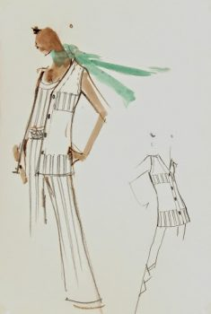 Balmain Fashion Sketch - Tunic and Slacks, Circa 1960-main-7070G