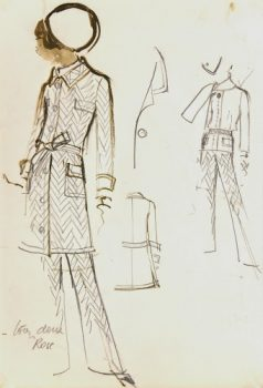 Balmain Fashion Sketch - Chevron Print, Circa 1960-main-7071G