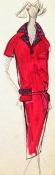 Balmain Fashion Sketch - Shirt Dress, Circa 1960-main-7075G