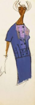 Balmain Fashion Sketch - Lavender Dress, Circa 1960-main-7077G