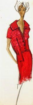 Balmain Fashion Sketch - Red Collar Dress, Circa 1960-main-7079G