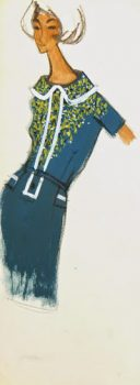 Balmain Fashion Sketch - Teal Collar Dress, Circa 1960-main-7082G