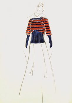 Balmain Fashion Sketch - Striped Sweater, Circa 1960-main-7099G