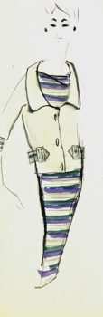 Balmain Fashion Sketch - Striped Dress & Blazer, Circa 1960-main-7112G