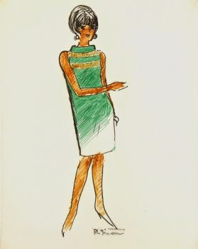 Sleeveless Green Dress Fashion Sketch, Circa 1960-main-7136G