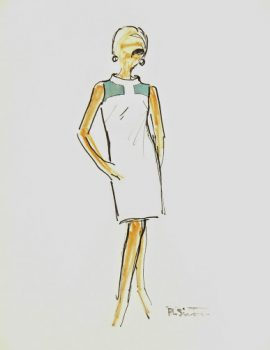 Sleeveless Mod Dress Fashion Sketch, Circa 1960-main-7137G