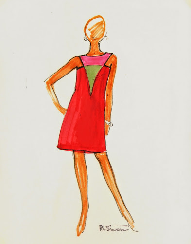 Sleeveless Red Colorblock Dress Fashion Sketch, Circa 1960-main-7138G