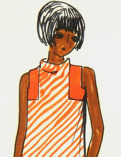 Orange Stripes Dress Fashion Sketch, Circa 1960-detail-7141G