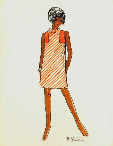 Orange Stripes Dress Fashion Sketch, Circa 1960-main-7141G