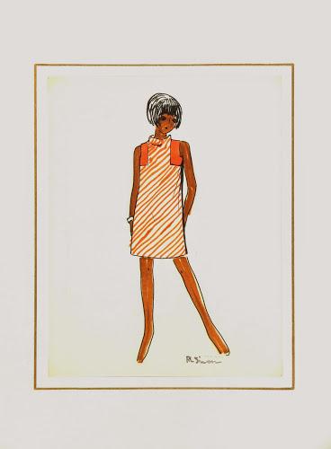 Orange Stripes Dress Fashion Sketch, Circa 1960-matted-7141G