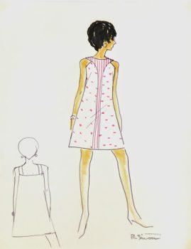 Orange Stripes Dress Fashion Sketch, Circa 1960-main-7142G