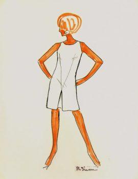 Modern White Dress Fashion Sketch, Circa 1960-main-7143G