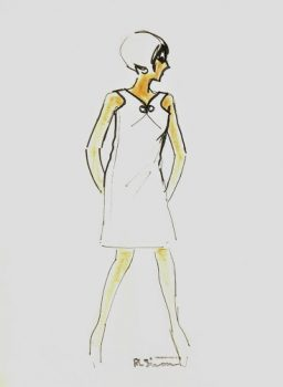 Modern White Dress Fashion Sketch, Circa 1960-main-7144G