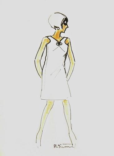 Modern White Dress Fashion Sketch, Circa 1960-main-7144G