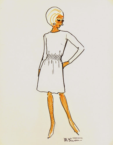 Casual White Dress Fashion Sketch, Circa 1960-main-7145G