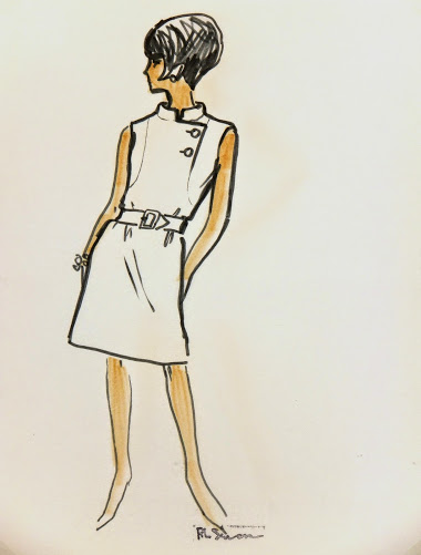 Casual Sleeveless Dress Fashion Sketch, Circa 1960-main-7146G
