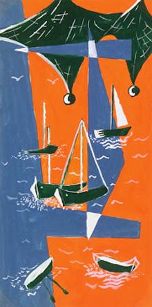 Abstract Gouache -Seascape, Circa 1950-main-7523G