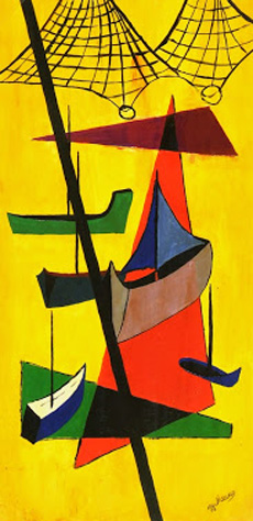 Abstract Gouache -Fishing Boats, Circa 1950-main-7524G