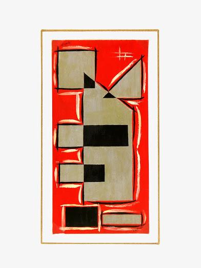 Abstract Geometric Gouache, Circa 1950-matted-7525G