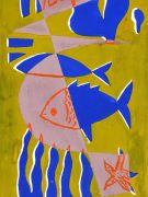Abstract Gouache - Sea Life, Circa 1950-detail-7526G