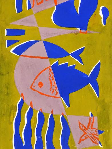 Abstract Gouache - Sea Life, Circa 1950-detail-7526G
