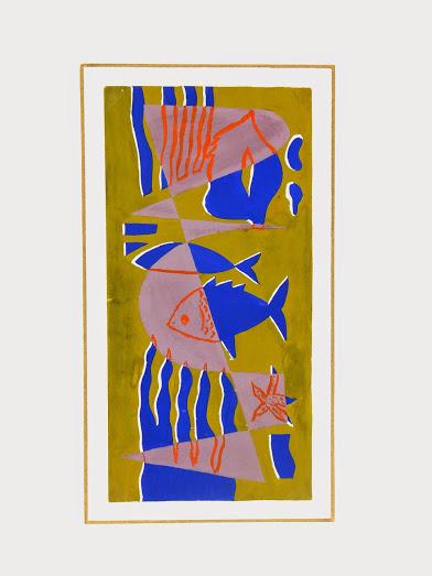 Abstract Gouache - Sea Life, Circa 1950-matted-7526G