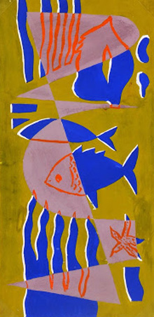 Abstract Gouache - Sea Life, Circa 1950-main-7526G