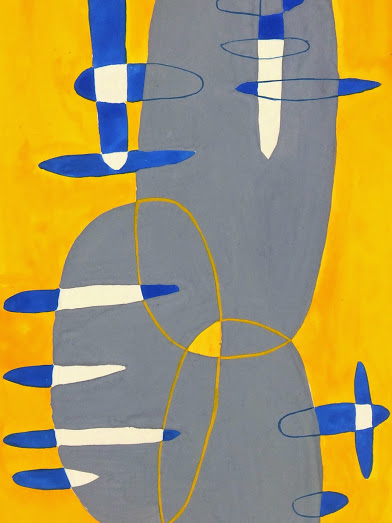 Abstract Gouache - Ovals, Circa 1950-detail-7527G