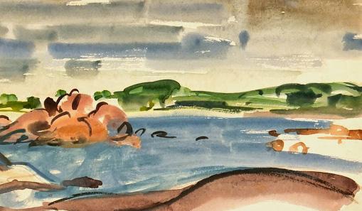 Watercolor Landscape - Peaceful Inlet, Circa ?-main-7531G