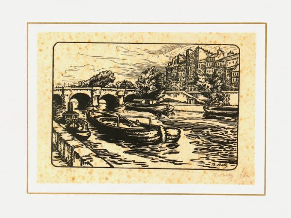 Woodcut - On the River, 1922-matted-7538G