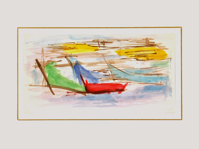 Watercolor Abstract - Boats-matted-7540G