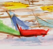 Watercolor Abstract - Boats-detail-7540G